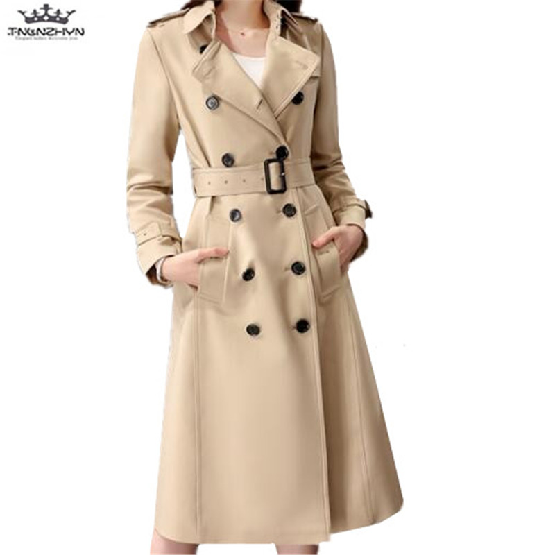 TNLNZHYN 2019 New Spring Women   Trench   Coat Medium Long Fashion Double breasted Long Coat Women Slim Windbreaker Outwear SK274