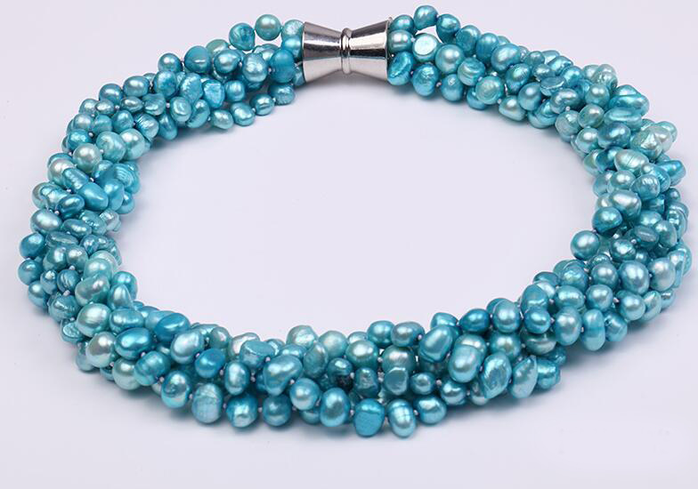 36-43cm 14-17 6 Rows Women Jewelry AAA natural pearl 6x7mm light blue baroque freshwater pearl necklace gift36-43cm 14-17 6 Rows Women Jewelry AAA natural pearl 6x7mm light blue baroque freshwater pearl necklace gift