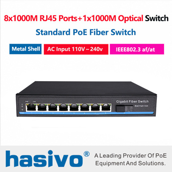 8x1000M RJ45 PoE Ports 1x1000M Fiber Switch built in power AC100V-240V  PoE Switch