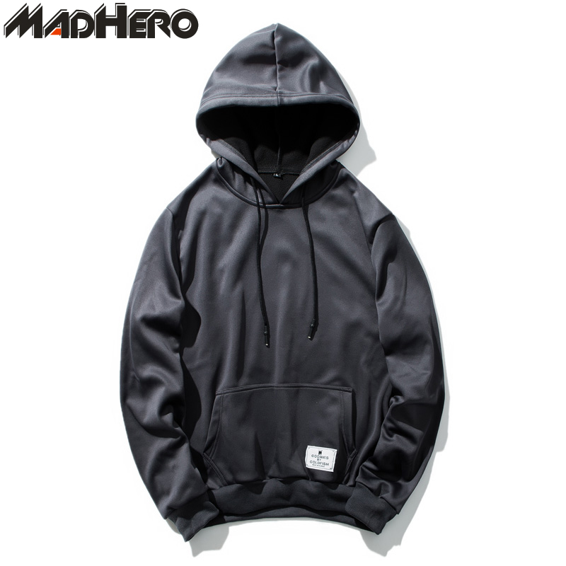MADHERO Patch Hoodies Men Black Ribbed Sleeve Pullover Hoodie Mens Hooded Rope Slim Basic Style Casual Pullovers Sweatshirts Man