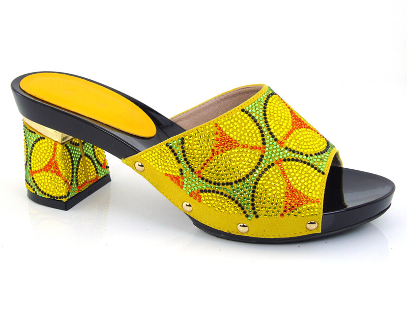 ФОТО lowest price Upper material African sandals with stones Peep Toe rose yellow color Heel heigh shoes for party,size37-43! HDD1-39