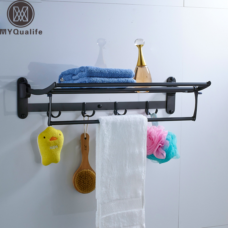 Black Bronze Bath Towel Shelf Wall Mounted Folding Towel Holder Single Towel Bar 4 Hooks Brass Bathroom Towel Storage Holder nail free foldable antique brass bath towel rack active bathroom towel holder double towel shelf with hooks bathroom accessories