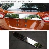 Stainless Steel Rear door License tailgate bumper frame plate trim lamp trunk hood 1pcs For Suzuki S cross SX4 2017 2018 2019
