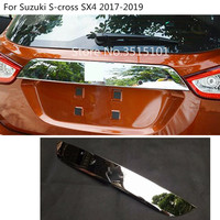 Stainless Steel Rear door License tailgate bumper frame plate trim lamp trunk hood 1pcs For Suzuki S cross SX4 2017 2018 2019