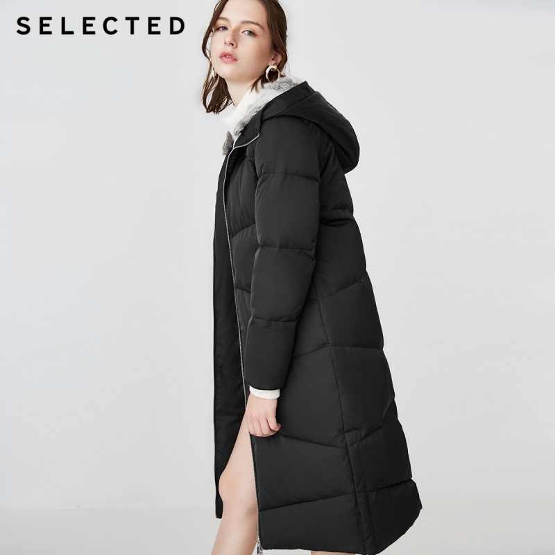 Новая зимняя Женская куртка-пуховик с капюшоном из кроличьего меха черного цвета S   418412551