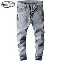 Nieuwe Koreaanse Style Jeans Grey Slim Skinny Man Biker Jeans met Ritsen Designer Stretch Mode Casual Broek Potloden Broek