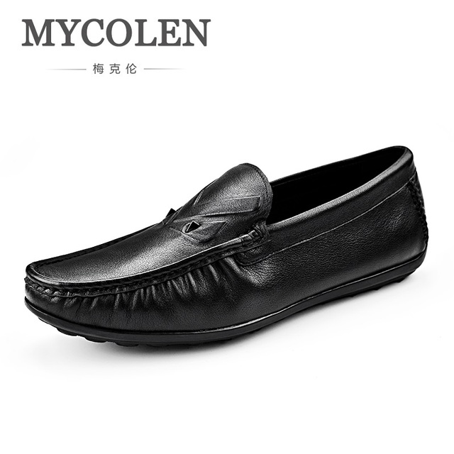 ab08ad47f MYCOLEN 2018 Doug Shoes Leather Minimalist Design Brand Fashion Summer Style  Soft Men Loafers Comfort Slip On Flats Shoes