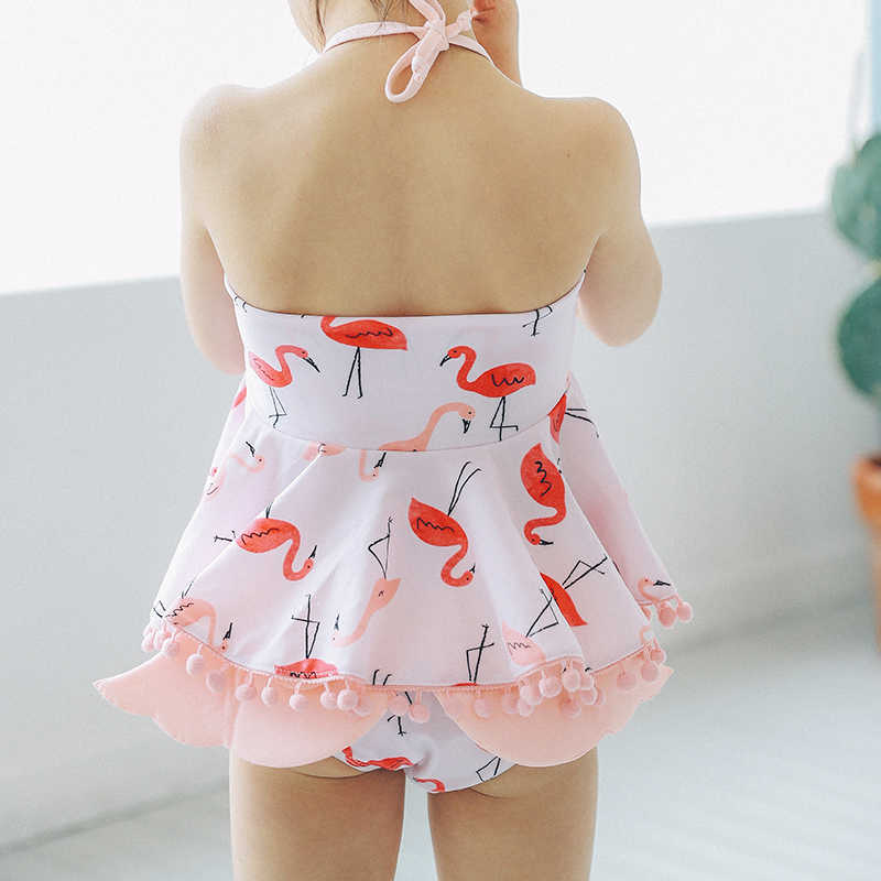 Для маленьких девочек летние купальники Фламинго печати купальник дети купальники бикини плавательный костюмы детская одежда