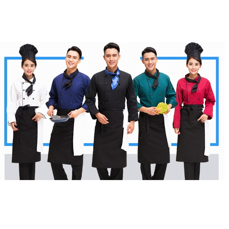 (10set Hat-coat-tie-apron) Chef Service Work Long Sleeved Autumn And Winter Restaurant And Hotel Service Hotel Cate