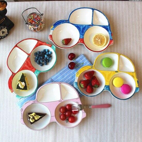car jeep plane digger shape ceramic cartoon children Dinner <font><b>Plate</b></font> kids dinner <font><b>plate</b></font> tableware breakfast Divided Platter