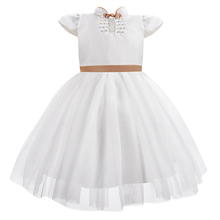 New Cheongsam Collar Kids Dress For Girls Big Bow Elegant Evening Princess Dresses White Flower Girl Wedding Bithday Party Dress