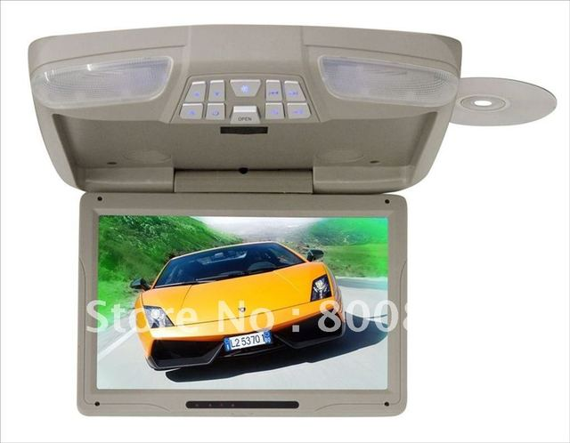 Free Shipping Grey Color 12 Flip down roof car DVD Player car monitor  with car DVD IR FM USB SD FREE 1 pcs Game controller pad