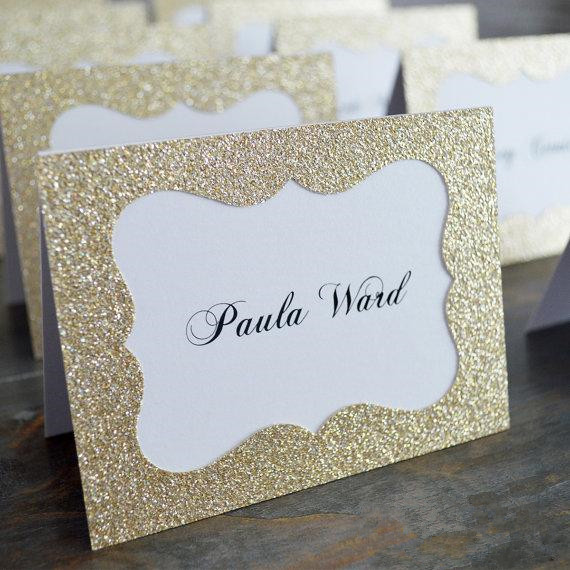 Glitter Gold Silver Wedding Table Numbers Place Card Escort Name Cards for Wedding Party Decoration Gold