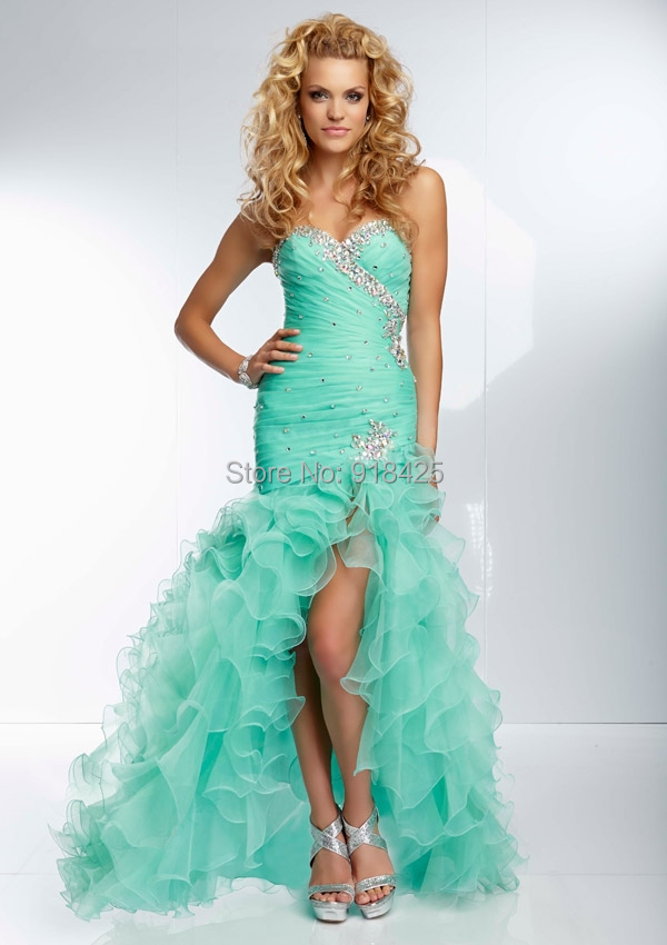 Fashion Design Beaded Sweetheart Neckline Ruffled Organza