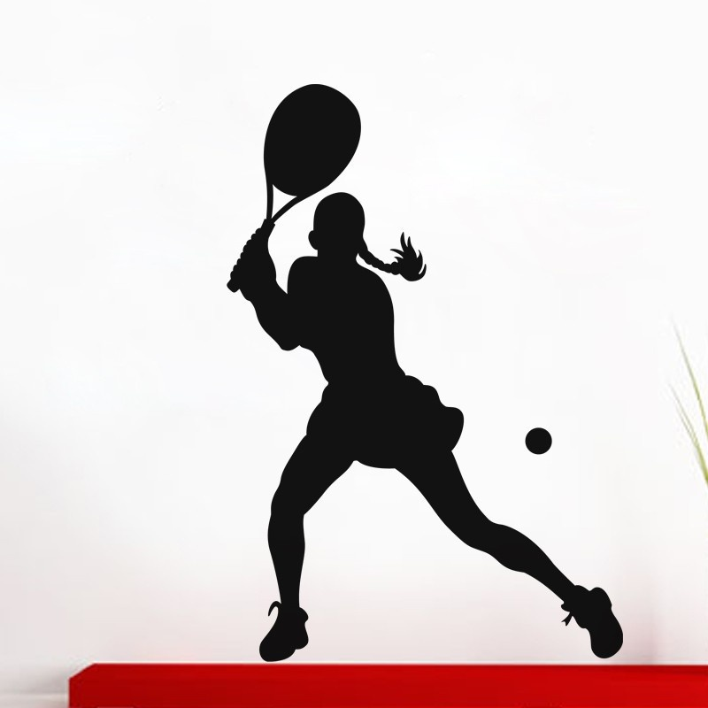 Fierce Female Tennis Player Wall Sticker Sport Gym Mural Art Wall Sticker Living Room Be ...