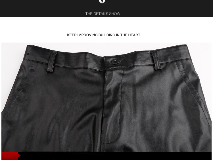 Thoshine Brand Summer Men Leather Pants Working Elastic Lightweight Smart Casual PU Leather Trousers Thin Motor Pants Plus Size 17