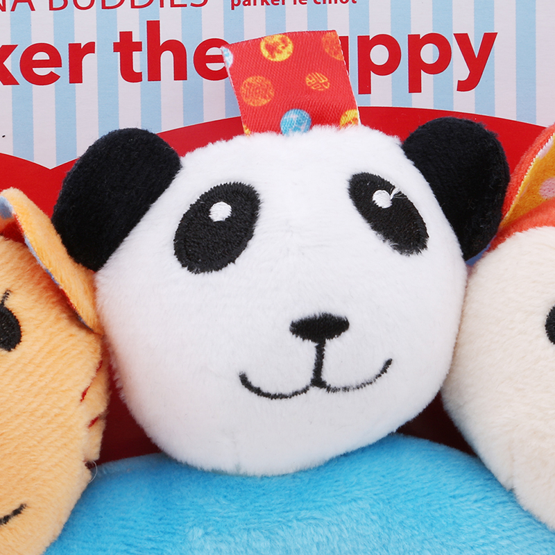 Good Quality Baby Three Animal Head Circle Hand Grasp Rattle Developmental Accompany Toy Tiger Panda Monkey Infant Toys