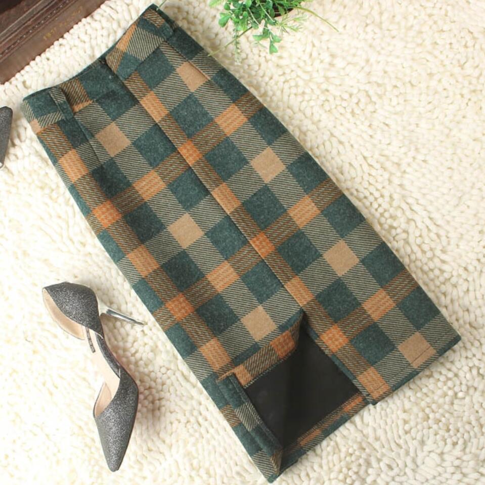 2020 Autumn Winter Women Elegant Plaid Skirt High Waist Retro package hip Woolen Skirt|Skirts| - AliExpress