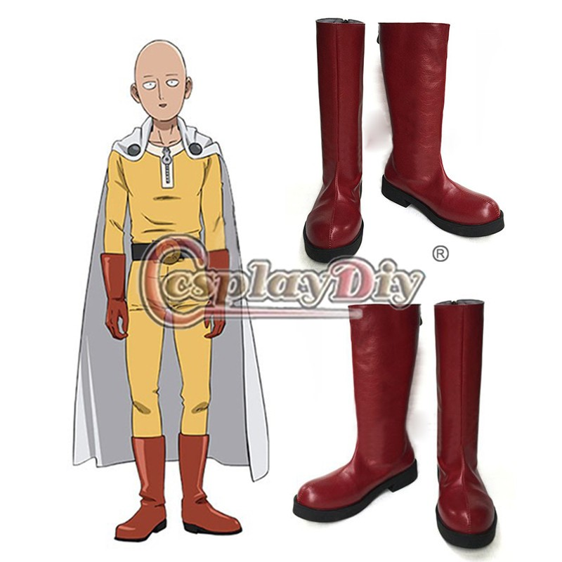 Cosplaydiy One Punch homme Saitama Caped Baldy Hagemanto rouge Cosplay bottes adultes hommes Halloween chaussures sur mesure
