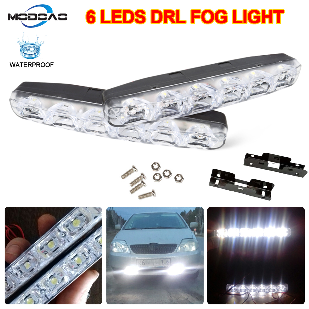 Running-Lights Waterproof Super-Bright Auto DRL DC Car 2pcs 6 12V Leds Car-Daytime-Lamp title=