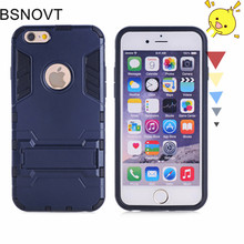 For iPhone SE Case Silicone + Plastic Kickstand Anti-knock Phone Case For iPhone SE Cover For iphone 5S SE 5C Funda BSNOVT robot style protective plastic silicone back case for iphone 5c blue black