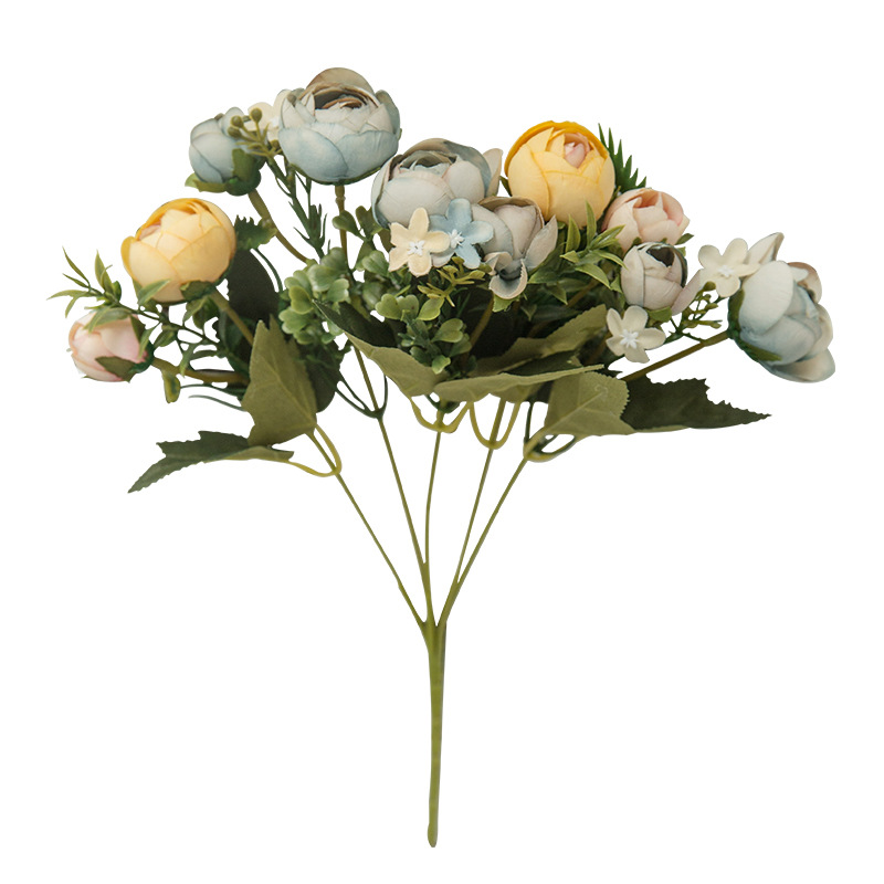 6 Heads Bouquet Rose Decor Artificial Flower Home Decor Imitation Fake Flower for Garden Plant Desk Decor Hand-Holding Flower (8)