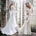 Backless atractivo de manga larga sirena del cordón del vestido de boda de Boho 2016 Vintage V cuello novia vestido de novia