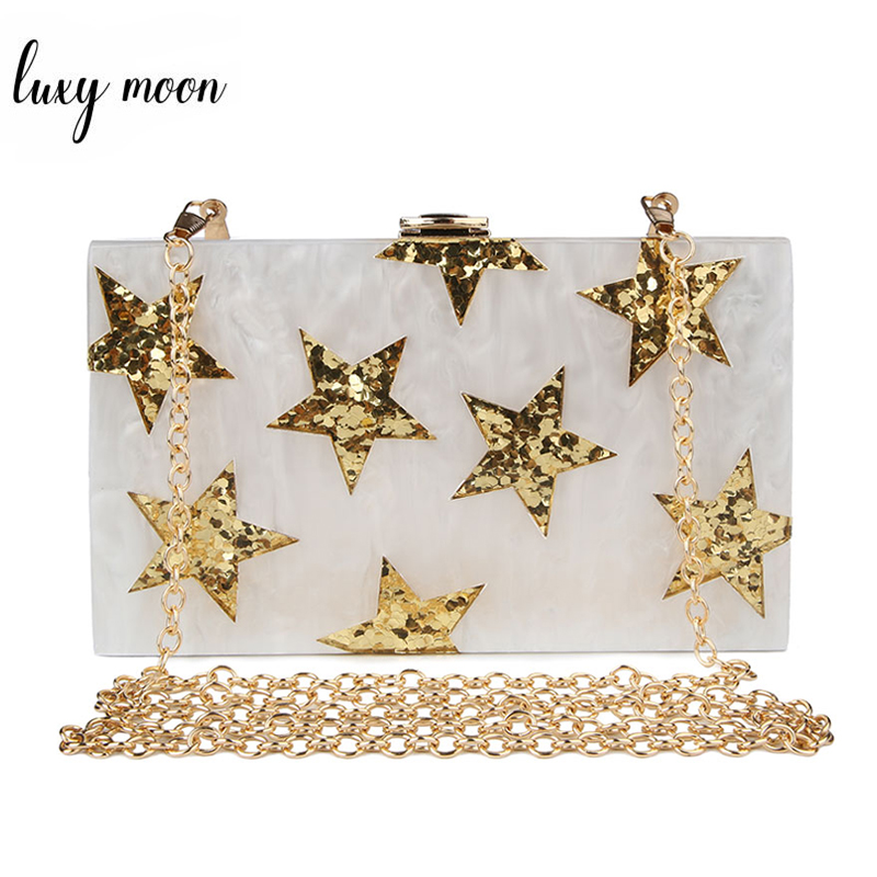 White Acrylic Clutches Female Purse Fashion Star Pattern Sequined Evening Bags For Women Luxury Chains Shoulder Bag ZD1183