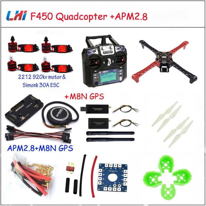 Rc Airplane F450 Quadcopter Rack Kit Frame Apm2.8 And M8n Gps 2212 920kv Simonk 30a 9443 Props Drones Quadrocopter цена 2017