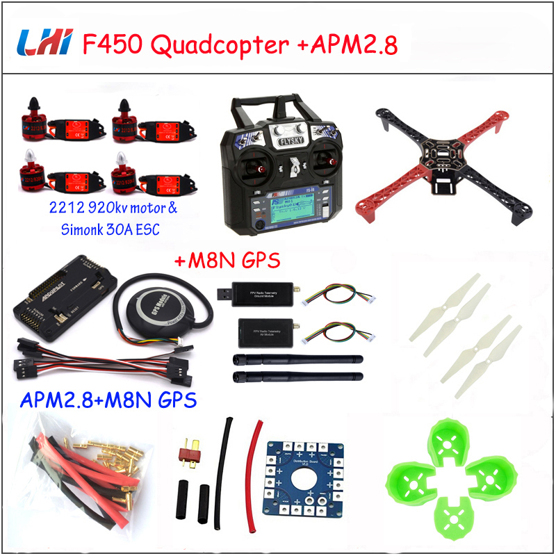 Rc Airplane F450 Quadcopter Rack Kit Frame Apm2.8 And M8n Gps 2212 920kv Simonk 30a 9443 Props Drones Quadrocopter