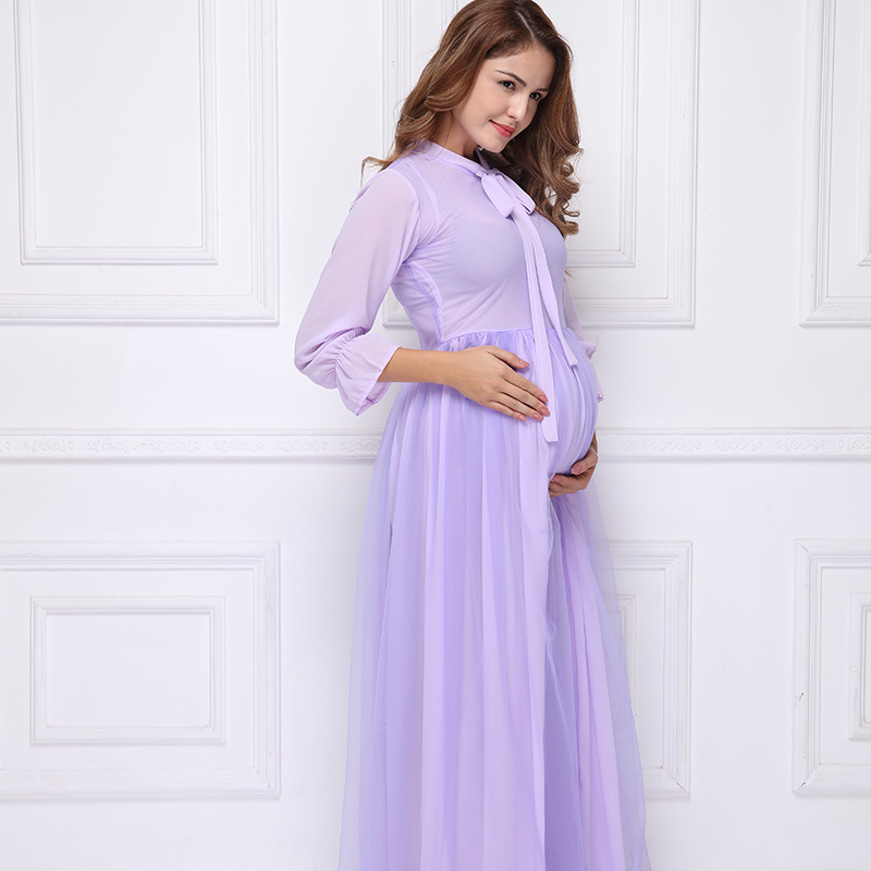 Maternity Purple Chiffon Lace Photography Dress Props Pregnancy Pregnant Women Photo Shoot Long Dress Plus Size Clothes pregnant women plus size photography props lace dress pregnancy maternity fashion photo shoot long dress for baby shower clothes