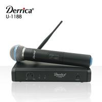 Darmowa dostawa! Derrica U 1188 profesjonalny mikrofon bezprzewodowy UHF system do karaoke z U 188 nadajnik ręczny Microfone Mic w Mikrofony od Elektronika użytkowa na