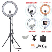 Fusitu Camera Photo RL 18 55W 240 LED 5500K Lamp Photography Dimmable Video Ring Light With Mirror/Light Stand/Camera holder