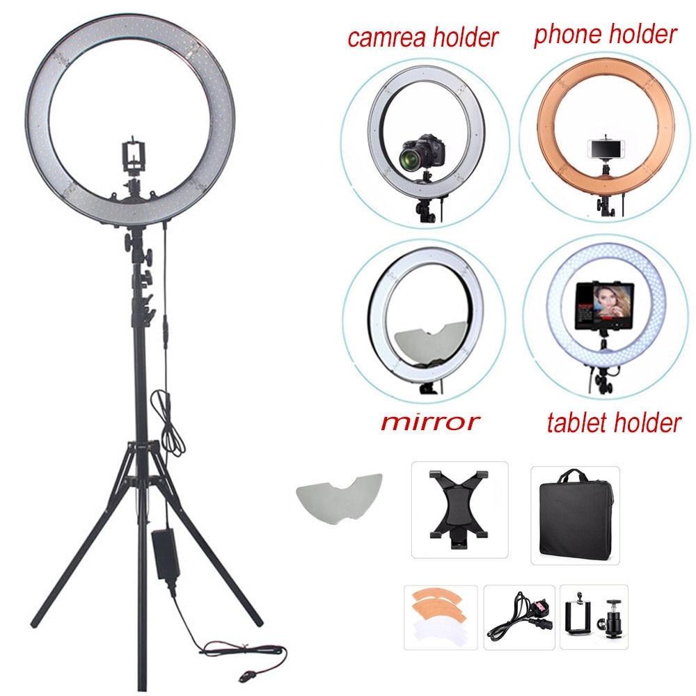 """bilder für Fusitu Kamera Foto RL-18 """"55 Watt 240 LED 5500 Karat Lampe Fotografie Dimmbare Video Ring Licht Mit Spiegel/licht Stand/Kamera halter"""