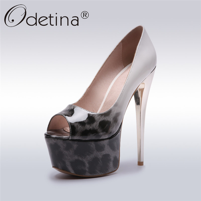 Odetina 2019 New Fashion Platform Pumps Extreme Super <font><b>High</b></font> <font><b>17CM</b></font> <font><b>Heels</b></font> Shoes Peep Toe Slip On Pumps <font><b>Sexy</b></font> Ladies Shoes Big Size 48 image