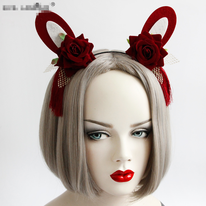 Woman Style Rabbit Headband Christmas Holiday Birthday Party Rose Hairpin Head Lace Princess Lovely Girl Accessory