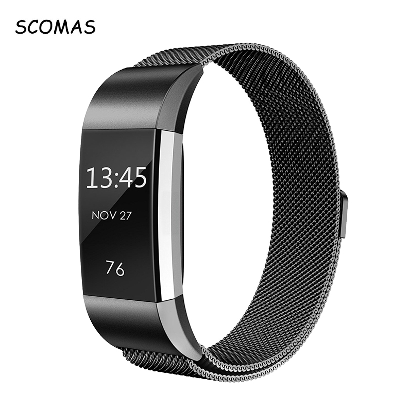 SCOMAS for Fitbit Charge 2 Bands Magnetic Stainless Steel Replacement Strap Bandje for Fit Bit Charge2 Fitness Wristband Correa