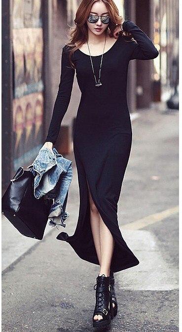 2cefdf7f5df45 Ücretsiz Kargo 2014 Yeni kadın tek parça elbise moda yarık elbise Bahar güz  ve yaz için uzun kollu yuvarlak boyun ile elbise