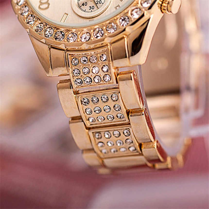 Relojes de marca de lujo para mujer relojes de pulsera de diamantes de imitación de cristal informal Geneva de acero dorado para mujer