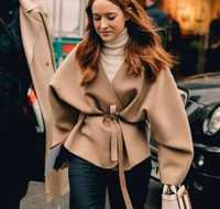 Lunel jacket Camel Color cashmere blend Overjackets Drop Shoulder V-NECK WRAP COAT WAIST BELT LONG voluminous sleeves