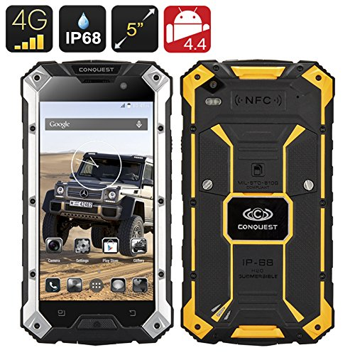 Conquest S6 Rugged Smartphone - MTK8752 Quad Core CPU, 3GB RAM 32GB ROM 4G, IP68, 5 Inch HD Screen, Android 5.1, NFC