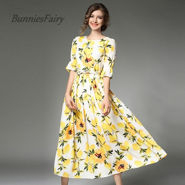 7680f9d8a5faf BunniesFairy 2018 Summer Cute Yellow Lemon Fruit Ptinted O Neck Runway  Chiffon Dress Sashes Women Maxi