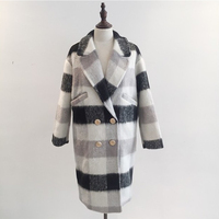Woolen coat female long section winter new student thick black and white plaid jacket female long sleeve loose casual wool coat