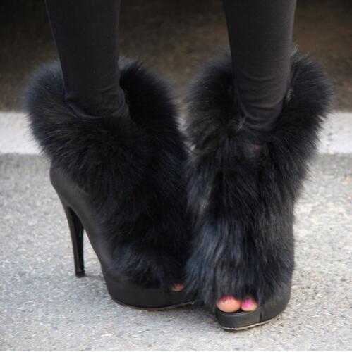 2018 Newest Sexy Black Fur Peep Toe Women Ankle Boots High Heels Street Outfit Dress Short Booties Shoes Woman Back Zipper