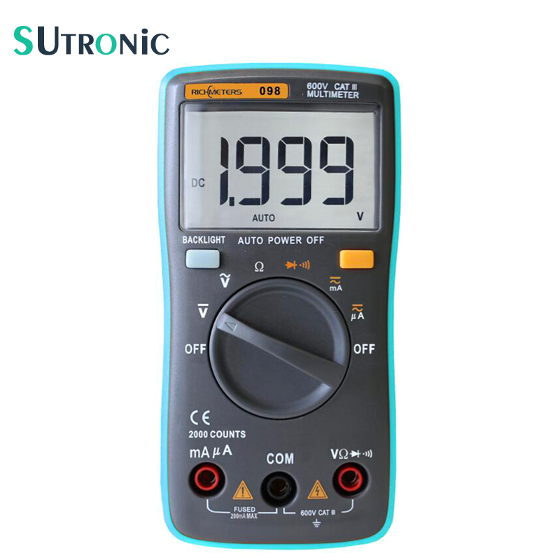 RM098 Auto Range Digital Multimeter Large Screen Backlight Buzzer Protection AC DC Ammeter Voltmeter Ohm Portable 2000 counts