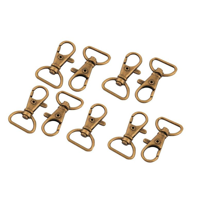 Shoulder bag metal band Insurance carabiner Rotating swivel Buckle Bronze tone 9 pcs(China)
