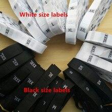 500 шт белый/черный Дамаск полиэстер тканая ткань размер этикетка Алфавит бирка одежды XS s m l xl 2XL-6XL