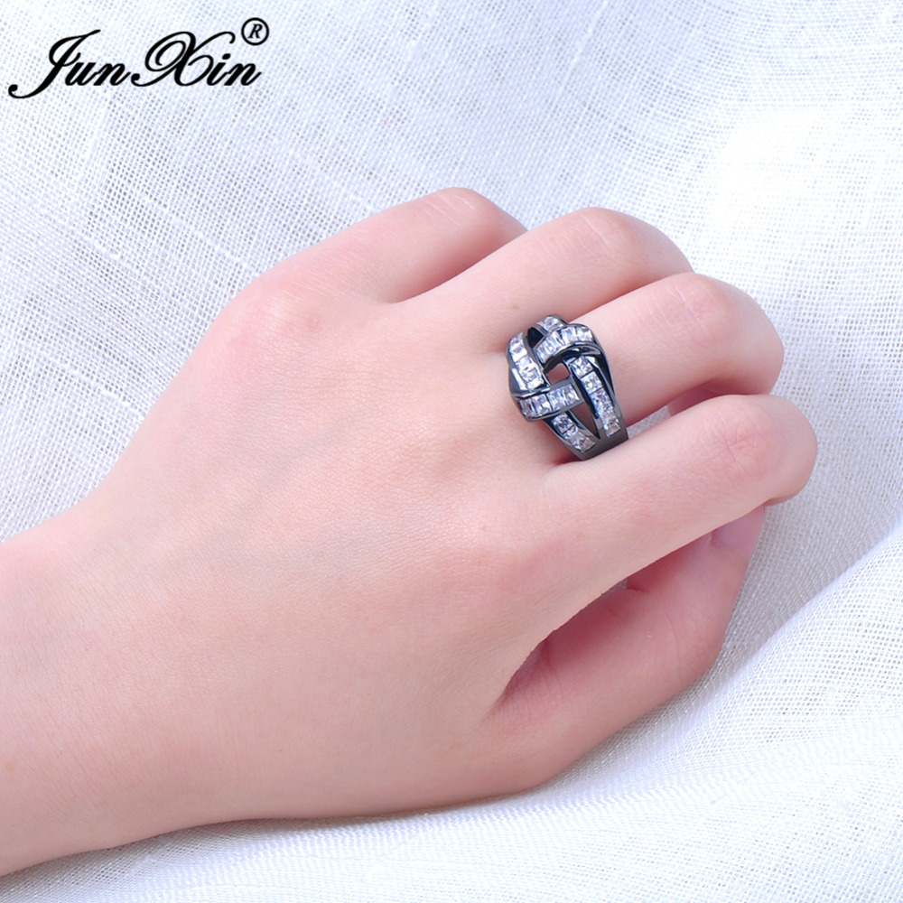 JUNXIN Unique Design Women Men AAA Zircon Stone Ring Black Gold ...