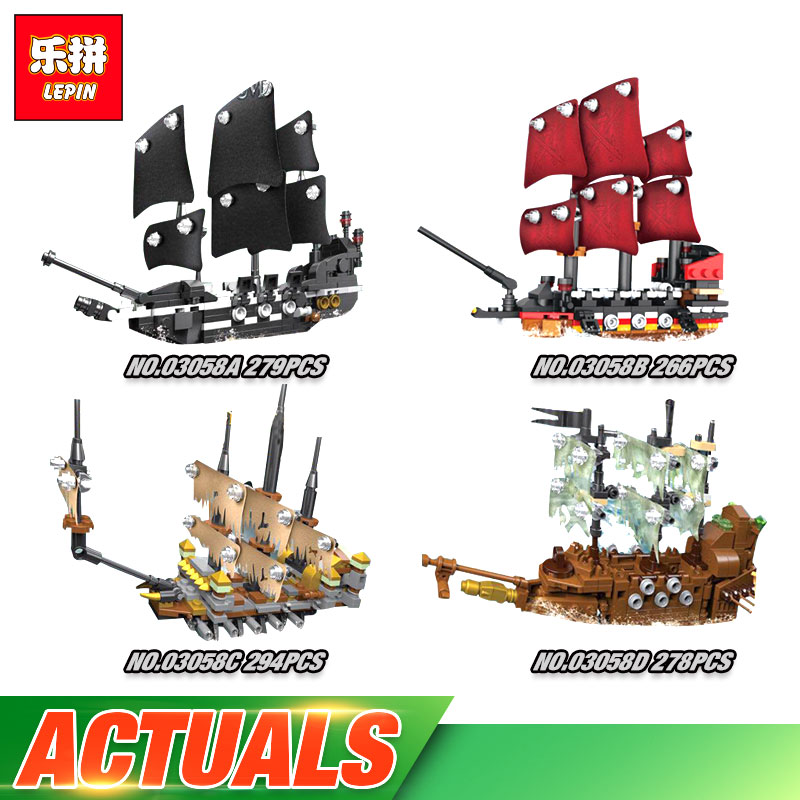 Lepin 03058 Genuine 1117 Pcs Movie Series The 4 In 1 Black Pearl Queen Anne's Reveage Slient Mary Ship Set Building Blocks Brick lepin 16032 586pcs new genuine movie the ghostbusters ecto 1