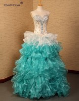 Colorful High Quality Appliques And Crystal Beads Royal Blue Wedding Gowns Tiered Ruffles Skirt Wedding Dresses